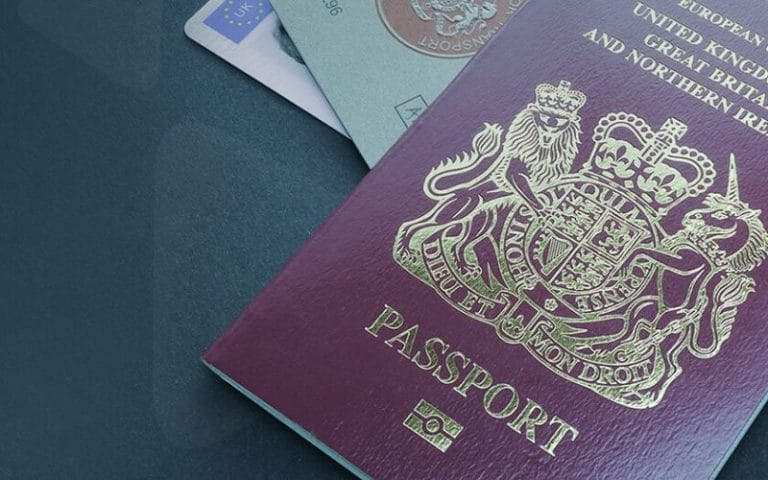 passport, driving licence and visa card