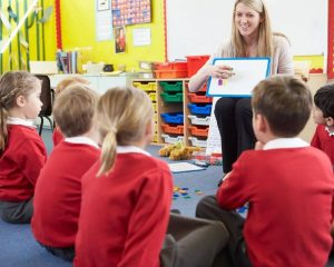 Teacher teaching spelling to school pupils which is considered a regulated activity